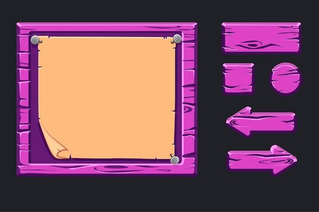 Menu in legno viola modello dell'interfaccia utente grafica Vettore Premium