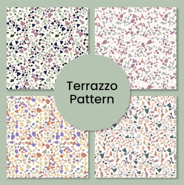 Set mosaico in marmo per pavimento in terrazzo Vettore Premium
