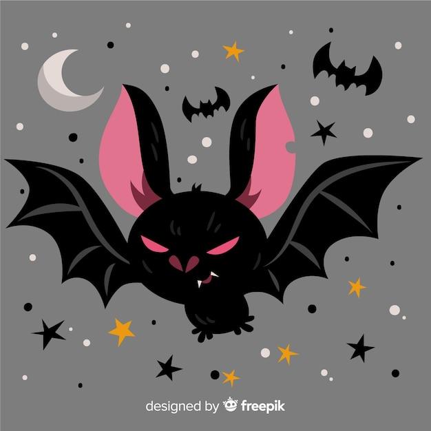 Fantastico pipistrello di halloween con design piatto Vettore Premium