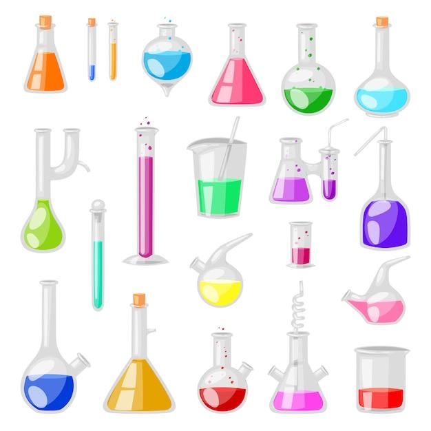 Provette di vetro chimico della boccetta della provetta riempite di liquido per ricerca scientifica o insieme di chimica dell'illustrazione dell'esperimento di cristalleria su fondo bianco Vettore Premium