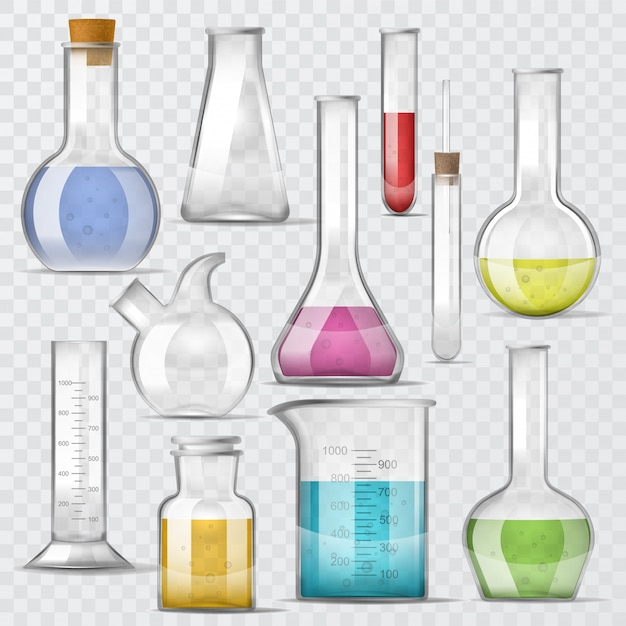 Provette di vetro chimico di vettore in provetta riempite di liquido per ricerca scientifica Vettore Premium