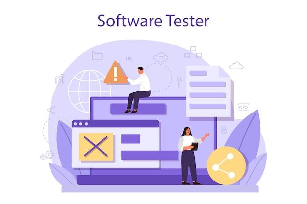 Testare il concetto di software. processo di test del codice dell'applicazione o del sito web. specialista it alla ricerca di bug. idea di tecnologia informatica. analisi digitale. Vettore Premium