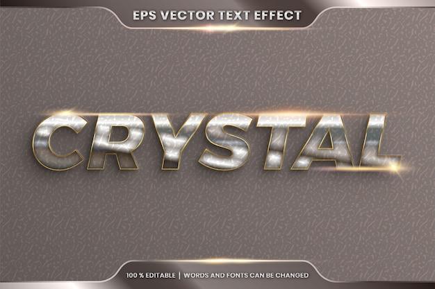Effetto di testo in parole di cristallo 3d, tema stili di carattere modificabile in metallo cromato realistico e combinazione di colori oro con concetto di luce bagliore Vettore Premium
