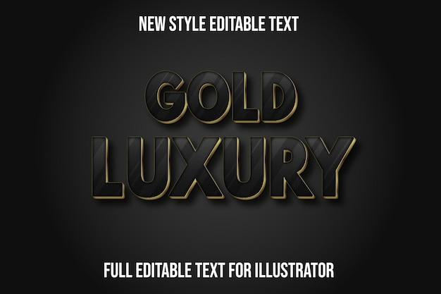 Effetto testo 3d oro lusso colore nero e oro sfumato Vettore Premium
