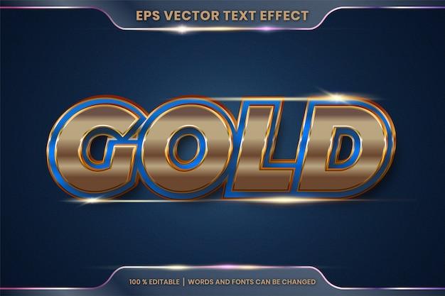 Effetto testo in 3d parole d'oro, stili di carattere tema modificabile in metallo oro e concetto di colore blu Vettore Premium