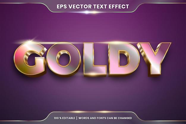 Effetto testo in 3d goldy parole effetto testo tema modificabile sfumatura oro metallo e concetto di colore oro rosa Vettore Premium