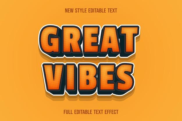 Effetto testo 3d grandi vibrazioni di colore arancione e nero Vettore Premium