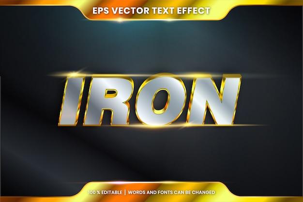 Mandi un sms all'effetto nelle parole del ferro 3d, concetto modificabile di colore dell'argento dell'oro del metallo di tema di stili di carattere Vettore Premium