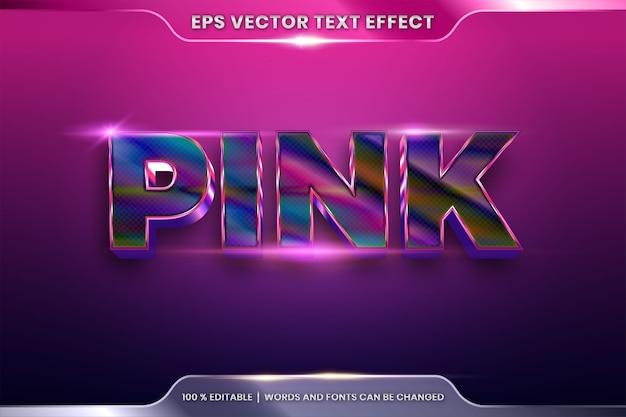 Effetto di testo in 3d parole rosa, stili di carattere, tema modificabile, combinazione di colori rosa sfumato in metallo realistico con concetto di luce bagliore Vettore Premium