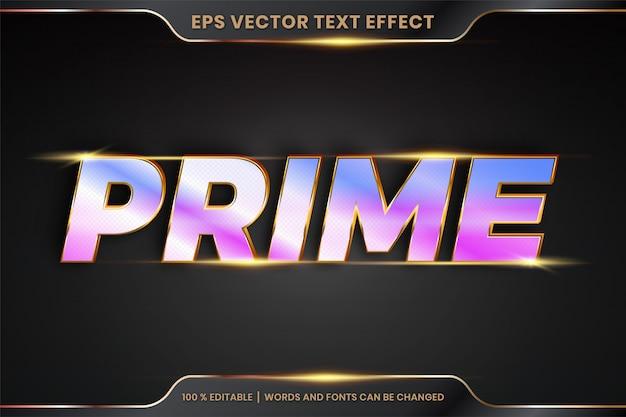 Effetto testo in 3d prime parole effetto testo tema modificabile oro realistico e concetto di colore olografico sfumato Vettore Premium