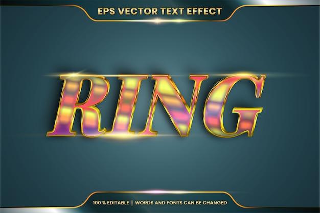 Effetto di testo in 3d parole in oro ad anello, tema stili di carattere modificabile in metallo realistico combinazione di colori oro sfumato con concetto di luce bagliore Vettore Premium