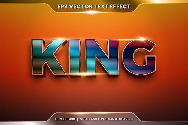 Effetto di testo in parole 3d ring king, tema stili di carattere modificabile realistico gradiente di metallo rame e combinazione di colori oro bronzo con concetto di luce bagliore Vettore Premium