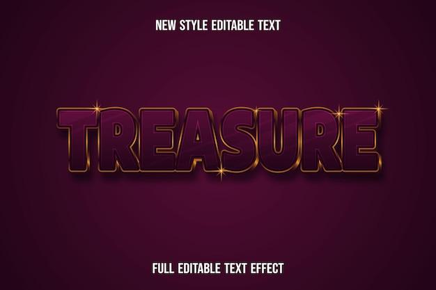 Effetto testo 3d tesoro colore rosso scuro e oro Vettore Premium