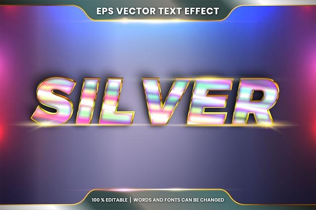 Effetto testo effetto modificabile in metallo realistico argento oro e combinazione di colori viola con concetto di luce bagliore Vettore Premium