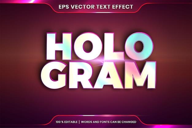 Effetto testo in parole ologramma in rilievo, tema stili carattere modificabile combinazione di colori sfumati olografici realistici con concetto di luce bagliore Vettore Premium