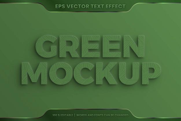 Effetto testo in 3d realistico parole verdi stili di carattere tema modificabile concetto di trama in rilievo Vettore Premium