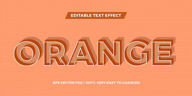 Effetto di testo in ombra parole arancioni testo effetto tema modificabile retrò concetto Vettore Premium