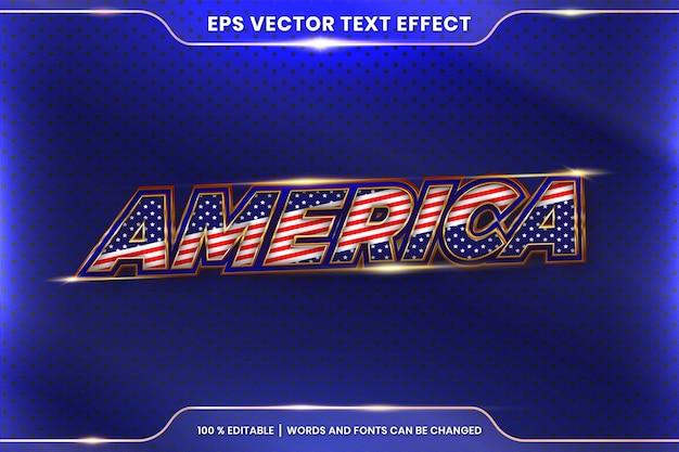 Stile effetto testo in parole realistiche dell'america 3d, concetto di colore oro metallo modificabile tema stile effetto carattere Vettore Premium