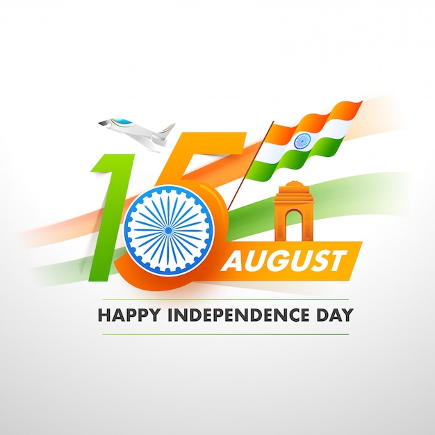 Mandi un sms a con la ruota di ashoka, la bandiera indiana, il portone dell'india e l'aereo da caccia su fondo bianco per il concetto felice della festa dell'indipendenza. Vettore Premium