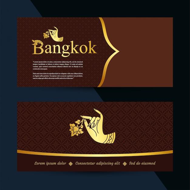 Banner di arte tailandese. modello del buono regalo. vettore Vettore Premium