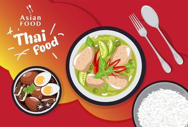 Set di cibo tailandese tradizionale, illustrazione del menu di cibo asiatico Vettore Premium