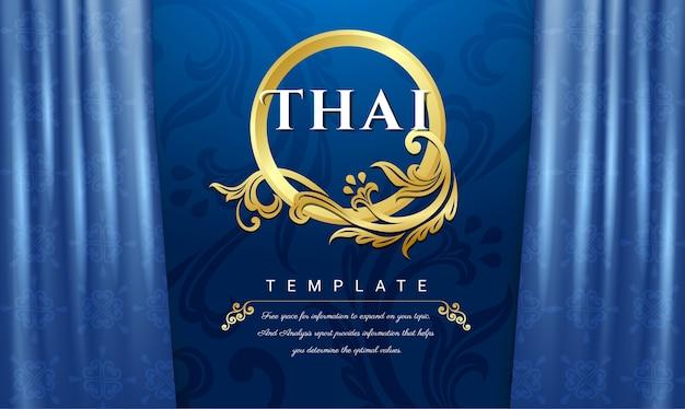 Concetto tradizionale tailandese, sfondo blu tende. Vettore Premium