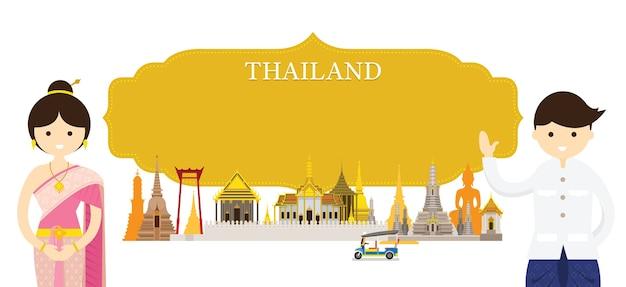 Luoghi d'interesse della thailandia e abbigliamento tradizionale Vettore Premium