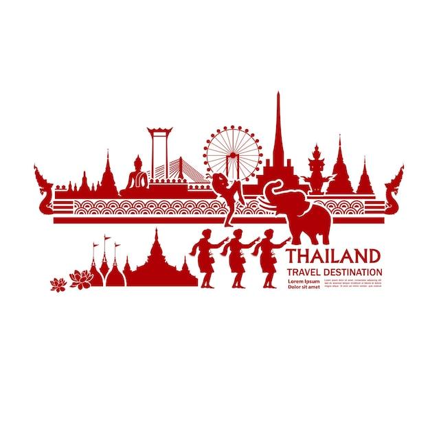 Thailandia viaggio destinazione grand illustrazione vettoriale. Vettore Premium