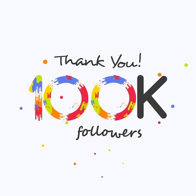 Grazie 100 follower per i social media Vettore Premium