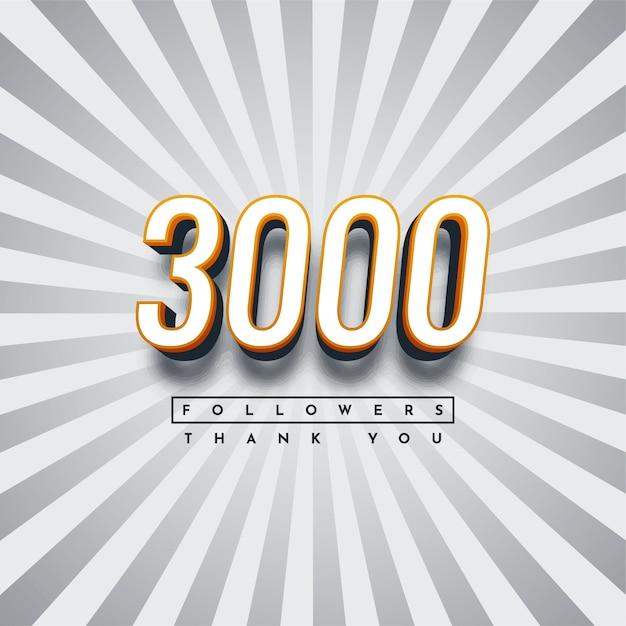 Grazie 3000 follower illustrazione modello di progettazione Vettore Premium