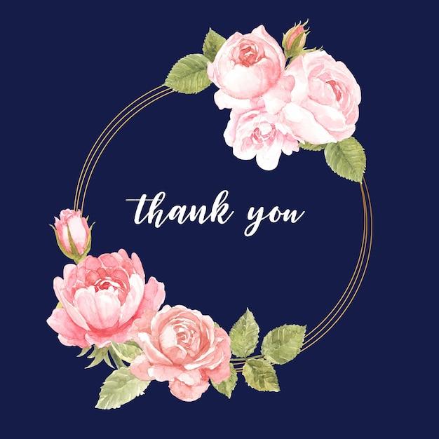 Grazie carta con disegno corona rosa rosa Vettore Premium