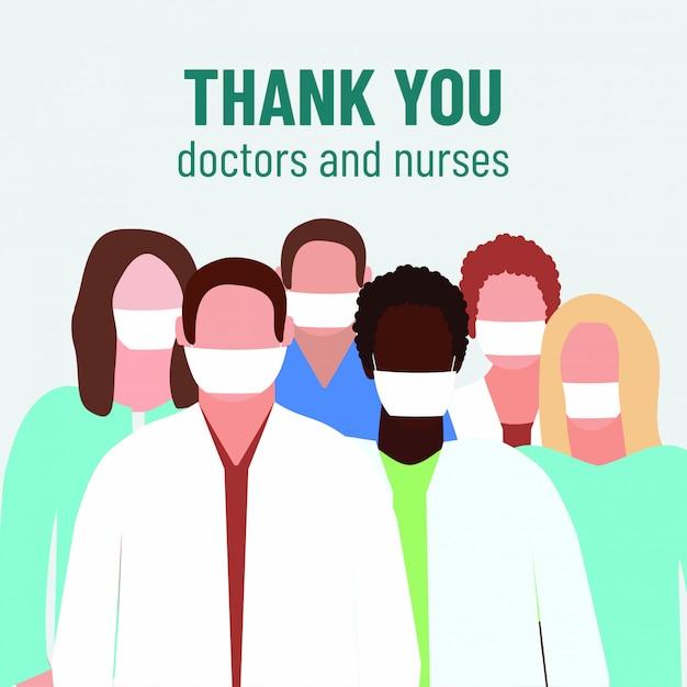 Grazie medici e infermieri. illustrazione medica. eroe dei virus covid-19 Vettore Premium