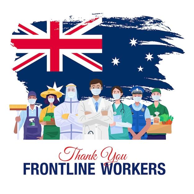 Grazie lavoratori in prima linea. varie occupazioni persone in piedi con la bandiera dell'australia. Vettore Premium