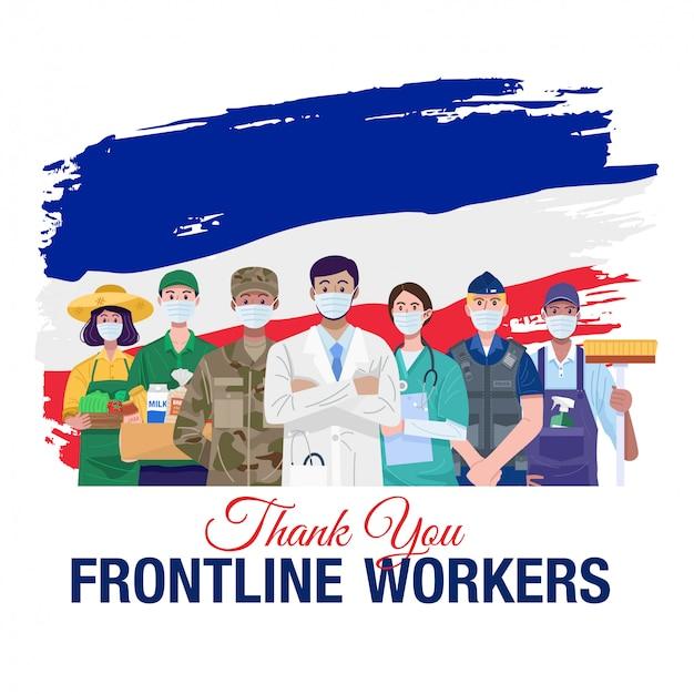 Grazie lavoratori in prima linea. varie occupazioni persone in piedi con la bandiera della francia. vettore Vettore Premium