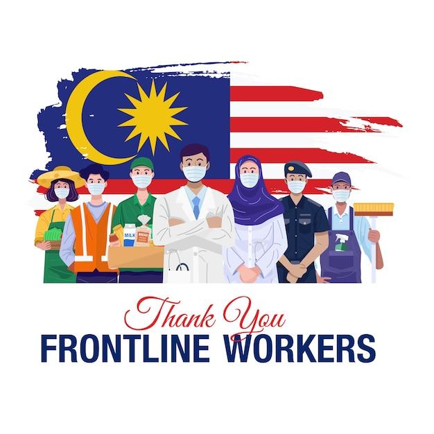 Grazie lavoratori in prima linea. varie occupazioni persone in piedi con la bandiera della malesia. Vettore Premium