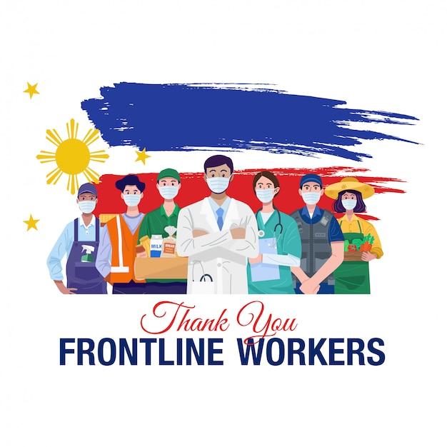 Grazie lavoratori in prima linea. varie occupazioni persone in piedi con la bandiera delle filippine. vettore Vettore Premium
