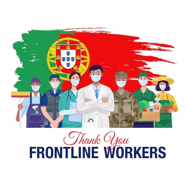 Grazie lavoratori in prima linea. varie occupazioni persone in piedi con la bandiera del portogallo. vettore Vettore Premium