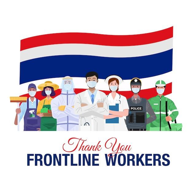 Grazie lavoratori in prima linea. varie occupazioni persone in piedi con la bandiera della thailandia. Vettore Premium
