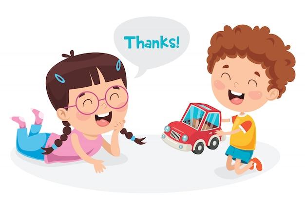 Grazie illustrazione con personaggi dei cartoni animati Vettore Premium