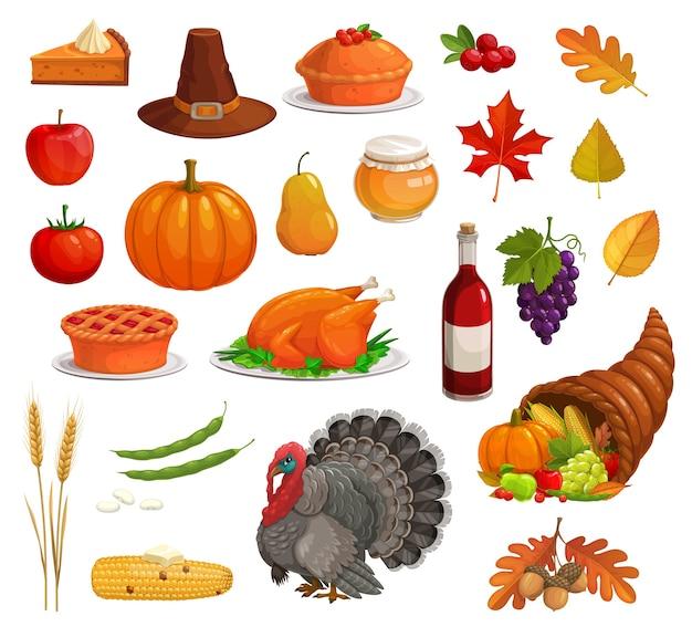 Vacanze autunnali del ringraziamento con tacchino cartone animato, cibo e cappello da pellegrino. zucca raccolta, mela e torta, cornucopia, foglie cadute, mais e uva, ghianda, grano, miele, vino, mirtilli rossi Vettore Premium