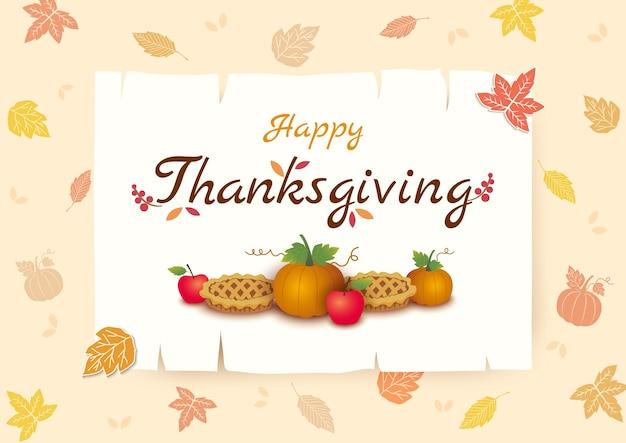 Ringraziamento sfondo zucca e torta sul telaio e modello foglia d'autunno Vettore Premium