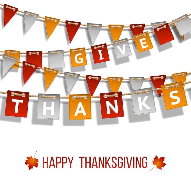 Giorno del ringraziamento, ghirlanda di bandiere su sfondo bianco. ghirlande di bandiere gialle bianche rosse e due foglie d'autunno di acero. illustrazione. Vettore Premium