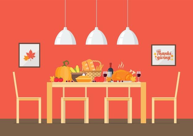 Invito per il giorno del ringraziamento con sala da pranzo interna. Vettore Premium