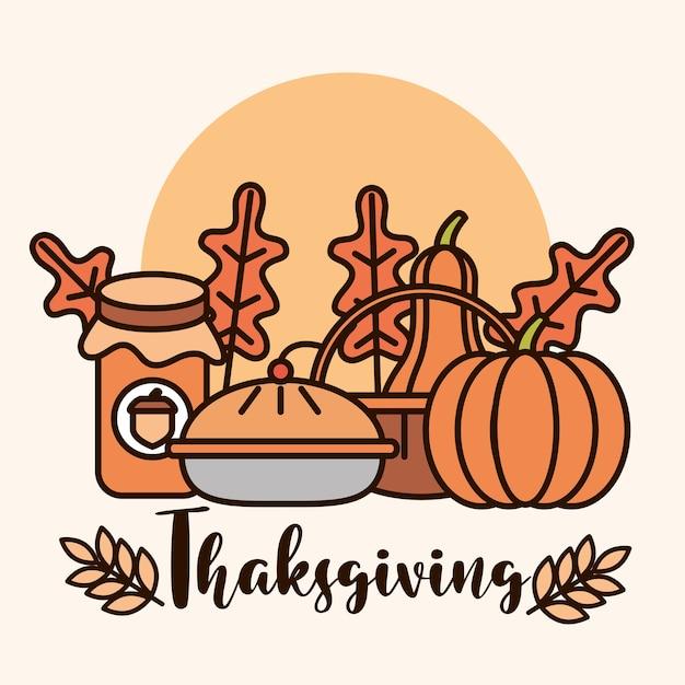 Giorno del ringraziamento, torta di zucche di cibo tradizionale e illustrazione di vettore di carta foglia Vettore Premium