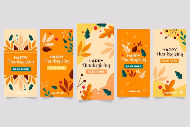 Storie di instagram del ringraziamento in design piatto Vettore Premium