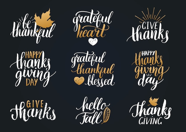 Lettering del ringraziamento per inviti o biglietti di auguri festivi. set di calligrafia manoscritta Vettore Premium