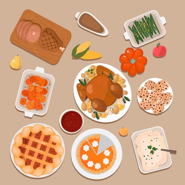 Set di dolcetti tradizionali del ringraziamento. illustrazione. Vettore Premium