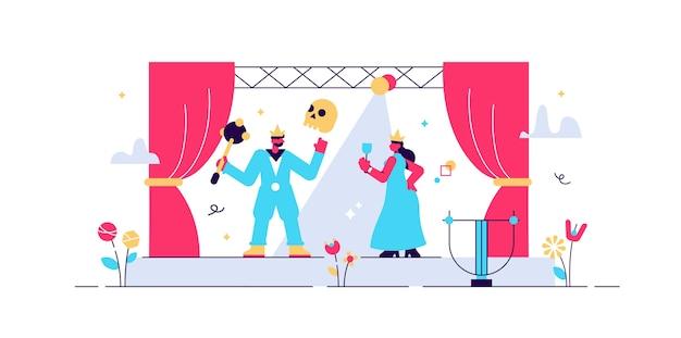 Illustrazione del teatro. t minuscolo concetto di persone performance sul palco. Vettore Premium