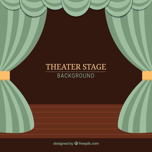 Sfondo teatro palco con tende in toni verdi Vettore Premium