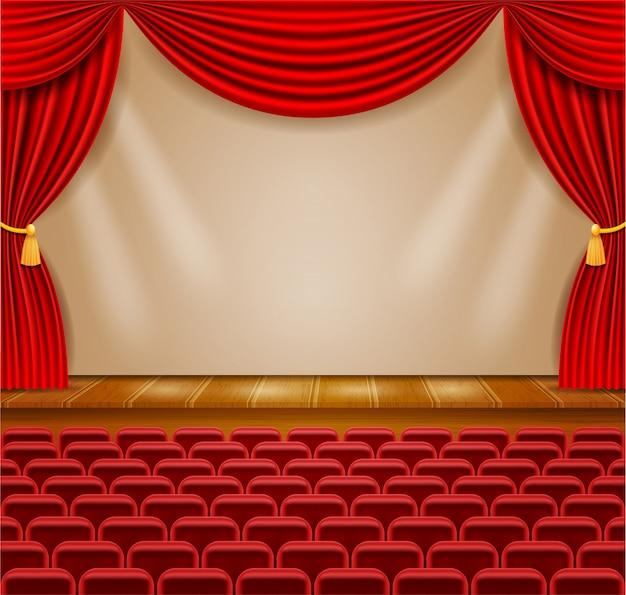 Palcoscenico nella hall con tende e poltrone per l'illustrazione del pubblico Vettore Premium